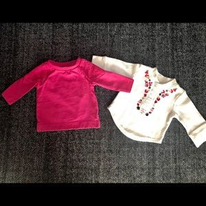 Two long sleeved T-shirts size 3m